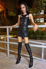 bandage and boots (sexy kutinghk) Tags: asian erotic sexy filipina girl woman slim skinny bodycon dress mini skirt tight short minidress boots thigh over knee heels
