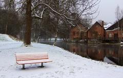 First snow 3 (bjorbrei) Tags: winter snow oslo norway river bench stream oldbuildings akerselva frysja