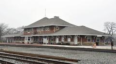 Elkhart, Indiana (Bob McGilvray Jr.) Tags: railroad station train cloudy tracks indiana amtrak 1900 depot passenger elkhart greyskies booooooo lsms lakeshoremichigansouthern