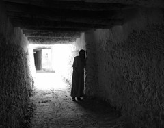 shadows (Katerina Atha) Tags: africa street travel light people blackandwhite bw man architecture dark underground shadows invisible figure afrika libya ghadames