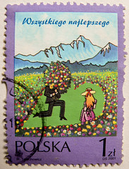 beautiful stamp Poland Polska 1z (affectionate regards, congratulations, Herzliche Glckw
