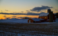 let's call it a day (laura's Point of View) Tags: winter sunset snow cold barn evening corn dusk michigan farm silo homestead bluehour lowell puremichigan lauraspointofview lauraspov