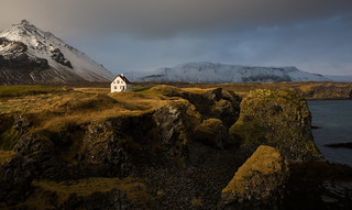The house by the cliffs in Arnarstapi in the Snaefells Peninsula