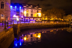 Three Crowns Reflections December 2014 (JDurston2009) Tags: plymouth barbican christmaslights