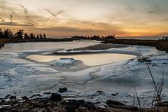 Winter has a heart (Saurav Pandey) Tags: winter sunset sky snow cold ice grass clouds sundown heart sandyhook