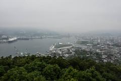 Arrival of a big cruise ship 16 (kmmanaka) Tags: japan nagasaki cruiseship fog rain harbor internationalterminal rose