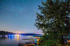 Starry Night at the Lake - 4 (taylorsloan) Tags: sky lake green night stars galaxy lakeoftheozarks starrynight noob clearnight starsinthesky takingnightshots