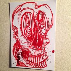 Red Ink Skull (pickledpunk) Tags: red ink skull weird sketch blood drawing doodle horror artbrut skullart