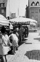 Saturday Open Market Time! (Douglas H Wood) Tags: bw shopping market 1975 om2 oudoor westgermany schweinfurt