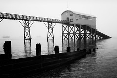 The Fog (ShrubMonkey (Julian Heritage)) Tags: sea bw mist beach station fog landscape mono coast eerie lifeboat coastal gloom selsey rnli a7r
