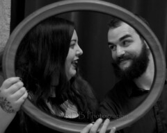 Framed 19 (C & R Driver-Burgess) Tags: woman man black boyfriend smile hair beard kiss girlfriend long curtain young velvet lovers glossy together frame companion hold bristly