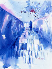 2016 06 29 blue stairs v2 (lilya_de) Tags: stairs watercolor mixedmedia aquarelle watercolour colourpencils