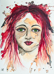red women (Sonje emotion) Tags: person portrait acryl aquarell women girl red
