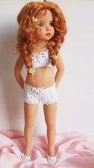 Crochet underwear for Little Darling (Maria Kłopotowska) Tags: white panties bag shoes doll underwear bra crochet lingerie cotton shorts crocheted slippers littledarling effner