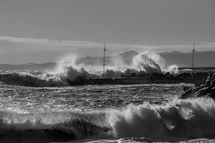Pegli_ (diepegiz) Tags: pegli genoa genova sea sky wave big pier bw black white nikon d90 storm landscape