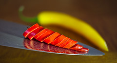 hot chili and cold steel  [Explored June 19, 2016] (GOLDFOCUS) Tags: red hot cold color detail reflection green rot kitchen colors yellow digital canon reflections germany dark giant happy deutschland cuisine cool fantastic chili dof bokeh steel great knife messer gelb 24mm kche chilli makro holz kalt farbe f28 dunkel farben reflektion autofocus heiss hotcold aufgabe golddragon geringeschrfentiefe happyshooting hsbilderflut macromondays canoneos60d goldfocus efs24mm28 thebeautyofbokeh