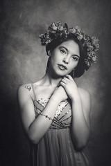 Mayra (carlos.navarrete.s) Tags: chile flowers light portrait blackandwhite woman flores cute blancoynegro beauty mujer dress photoshoot natural retrato concepcin belleza