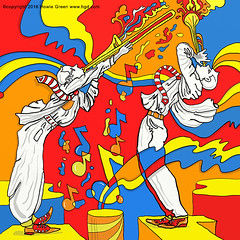 Pop Art psychedelic jazz horn players (Howie Green) Tags: art trumpet jazz pop trombone horn players psychedelic