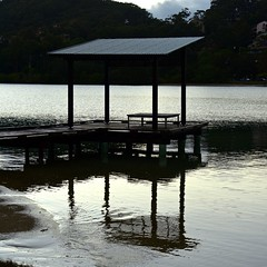 Too Early for Fishing (armct) Tags: sunrise cloudy reflection monochrome creek estuary water ripples contrast stark shelter building pier calm morning waterside sand currumbincreek goldcoast
