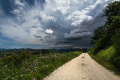Storm is coming (LaPille) Tags: road blue summer italy panorama storm green nature grass clouds landscape outdoor hiking hike monteverde valfabbrica viafrancigena