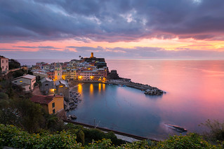 Vernazza Dressed In Pink And Blue