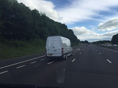 Mercedes Sprinter 313 CDI (Paul.Bevan) Tags: white reflections outdoors view motorway transport bluesky mercedesbenz delivery dodge express ontheroad m6 whitevan merc panelvan 313 cdi sprinter m74 haulage fluffyclouds lwb paulbevan cabview