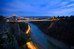 Hang on Avon... (Charlie_Joe) Tags: unitedkingdom uk bristol trails cliftonbridge travel explore clouds canon reallyrightstuff cold winter fstopgear bridge greatbritain england riveravon city cityscape architecture road transport red yellow bluehour night aerial sunset sky suspensionbridge