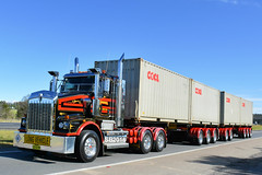 Murrells Pocket Road Train (Scottyb28) Tags: kenworth truck trucks trucking highway haulage murrells transport roadtrain bonnet container shipping world loaded diesel sydney