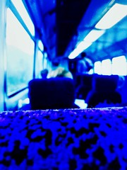 Wish You Were Here (sjpowermac) Tags: 142025 pacer commute commuters guard tickets seats fluorescent lights railway train northernrail moquette blue