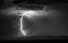 Enough is Enough (NicLeister) Tags: arizona thunderstorm lightning storm sony southwest strike sonoran sky stormscape bw alpha a65 clouds desert landscape monsoon mountains night nature outdoors rain summer thunder