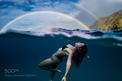 Double Vision (DRoofing163) Tags: sky lake girl sea beauty rainbow water beach travel blue clouds ocean summer woman model bikini swim hawaii mountain floating split deep underwater dive swimming waikiki double oahu honolulu overunder