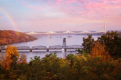 :: scenic :: (mjcollins photography) Tags: bridge river town sunset light water rainbow landscape bluff minnesota stillwater clouds autumn fall