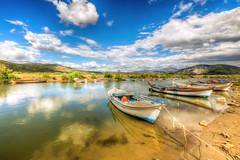 Bafa, Turkey (Nejdet Duzen) Tags: trip travel cloud reflection turkey boat trkiye sandal yansma turkei seyahat ske bafagl bafalake serinvillage seinky