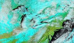 Michigan and the Mid-West in Late Fall 2 (sjrankin) Tags: panorama snow edited lakemichigan greatlakes nasa terra noaa usgs modis 250m bands721 lakesnoweffect 18november2014