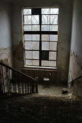 IMG_8940R (Steven Kuipers) Tags: school windows brick abandoned window stairs chair rust ruins midwest decay interior exploring urbandecay indiana haunted highschool explore forgotten rusted railing schoolhouse crumbling urbanexploring delapidated urbex weatherd urbanexlore