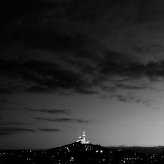 le chteau de La Bonne Mre (  Pounkie  ) Tags: bw france night clouds marseille ciel sombre squareformat nuage paysage nuit noirblanc bonnemre formatcarr basiliquenotredamedelagarde carrfranais lechteaudelabonnemre