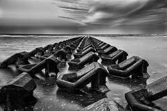 Sea Defences (mg photography2) Tags: new sea england seascape monochrome clouds liverpool mono brighton exposure tide defences wirral