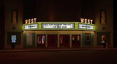 West Theatre (davidwilliamreed) Tags: light west night dark penguins 3d neon shot theatre games hunger after artdeco available cedartownga