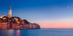 Adriatic Moonrise | Rovinj, Croatia (v on life) Tags: ocean sunset moon lights croatia moonrise oldtown rovinj adriatic adriaticsea