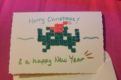 Xmas Space Invader Christmas card (mapgieplace) Tags: christmas cute video artist space crafts spaceinvader games hobby tools retro polymerclay fimo videogames ornaments card clay selftaught sculpey invader crafty computergames crafting christmascard polymer hobbycraft