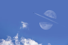 Moon Ninja (Matt West) Tags: blue sky moon game clouds plane funny joke jet dream bluesky trail concept conceptual vapour impossible supermoon fruitninja