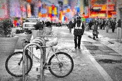 Snow Ride (floralgal) Tags: nyc winter snow manhattan timessquare colorfullights midtownmanhattan timessquarenewyorkcity winterinnewyorkcity urbanstreetscape colorfulbillboards manhattaninwinter colorfultimessquare snowinginmanhattan snowingintimessquare timessquareinwinter
