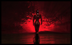 Red Swamp (Diablo Balazic) Tags: girls light red beautiful dark naked model darkness swamp effect