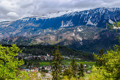 Julian Alps (E-klasse2010) Tags: blue trees mountain snow mountains alps green landscape spring julian village cloudy outdoor top hill slovenia valley april mountainside blossoming slovenija