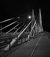 Tilikum Crossing (Flat-Sax Jones) Tags: bridge bw white black night oregon 35mm dark portland nikon crossing d610 tilikum
