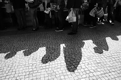 In the shadow queue (JarHTC) Tags: street shadow people bw monochrome market sigma queue foveon dontgiveup flickrfriday dp1s