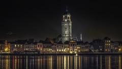 Golden city... (Lefers.) Tags: nightphotography netherlands skyline night river warm fuji nacht nederland 1855mm avond fujinon deventer ijssel overijssel nachtfotografie rivier ghold