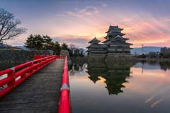 Matsumoto Castle in the Morning (Kwanchai_K) Tags: matsumoto castle pond reflection sunset dawn sunrise morning clouds twilight sky travel landmark japan nagano bridge