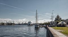 On the river. (Oleg Kolobov) Tags: summer sky water saint sailboat river shrine ship petersburg quay cranes shipyard oleg neva kolobov