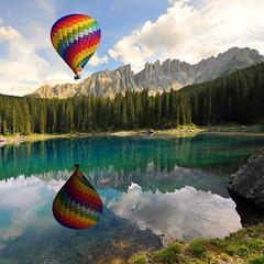 aerostato lago Carezza Latemar (5348 Franco) Tags: dolomites altoadige sudtirolo